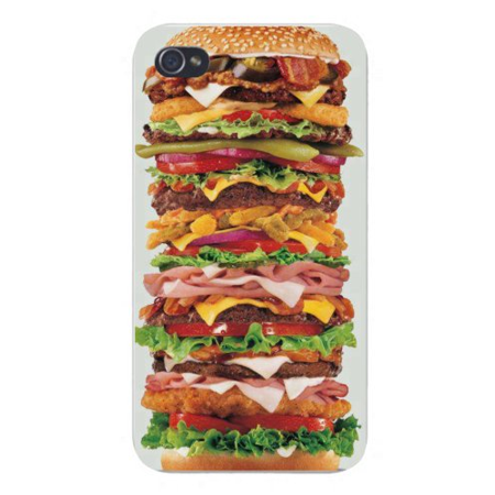 Apple Iphone Custom Case 5 / 5s AND SE White Plastic Snap on - Giant Chicken & Hamburger Sandwich w/ Bun](Giant Sandwich Platters)