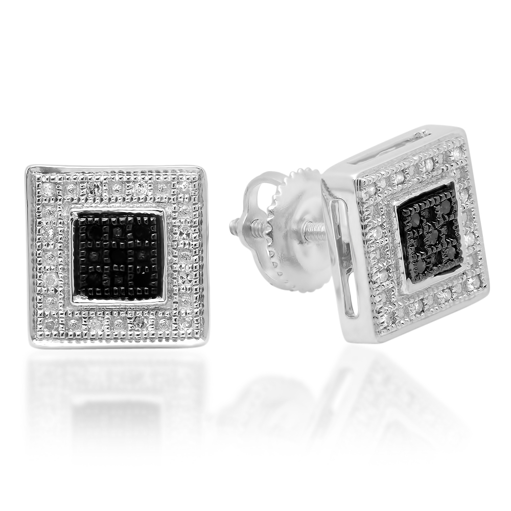 0.15 Carat (ctw) Sterling Silver Round White & Black Diamond Micro Pave Setting Kite Shape Stud Earrings