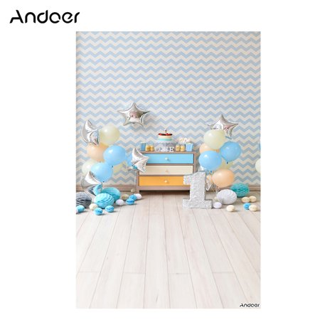 Andoer 1.5 * 2.1m/5 * 7ft First Birthday Party Photography Background Blue Balloon Star Paper Poms Cake Newborn Infant Backdrop Photo Studio Pros - Paper Photo Backdrops