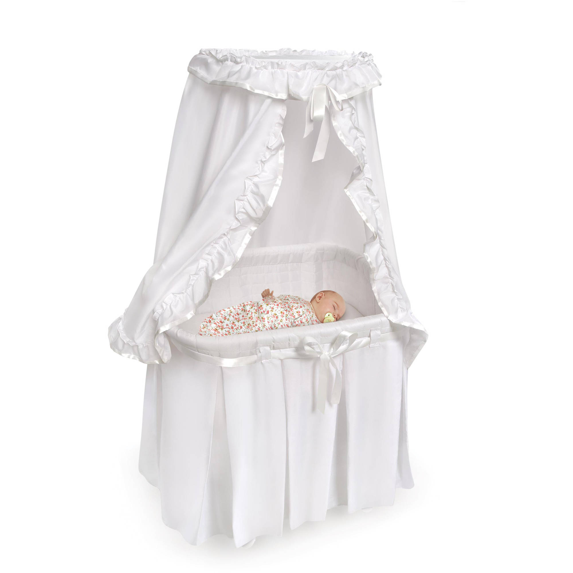 Badger Basket Majesty Baby Bassinet With Canopy Gray White Com