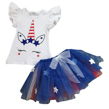 Girls 2 Pieces Skirt Set Unicorn T-shirt Top Stars Tulle Tutu Skirt Clothing Set Royal 2T XS (501413)