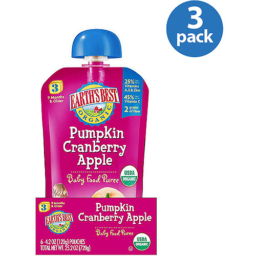 Earth's Best Organic Pumpkin Cranberry Apple Stage 3 Baby Food Puree, 4.2 oz (Pack of 3)