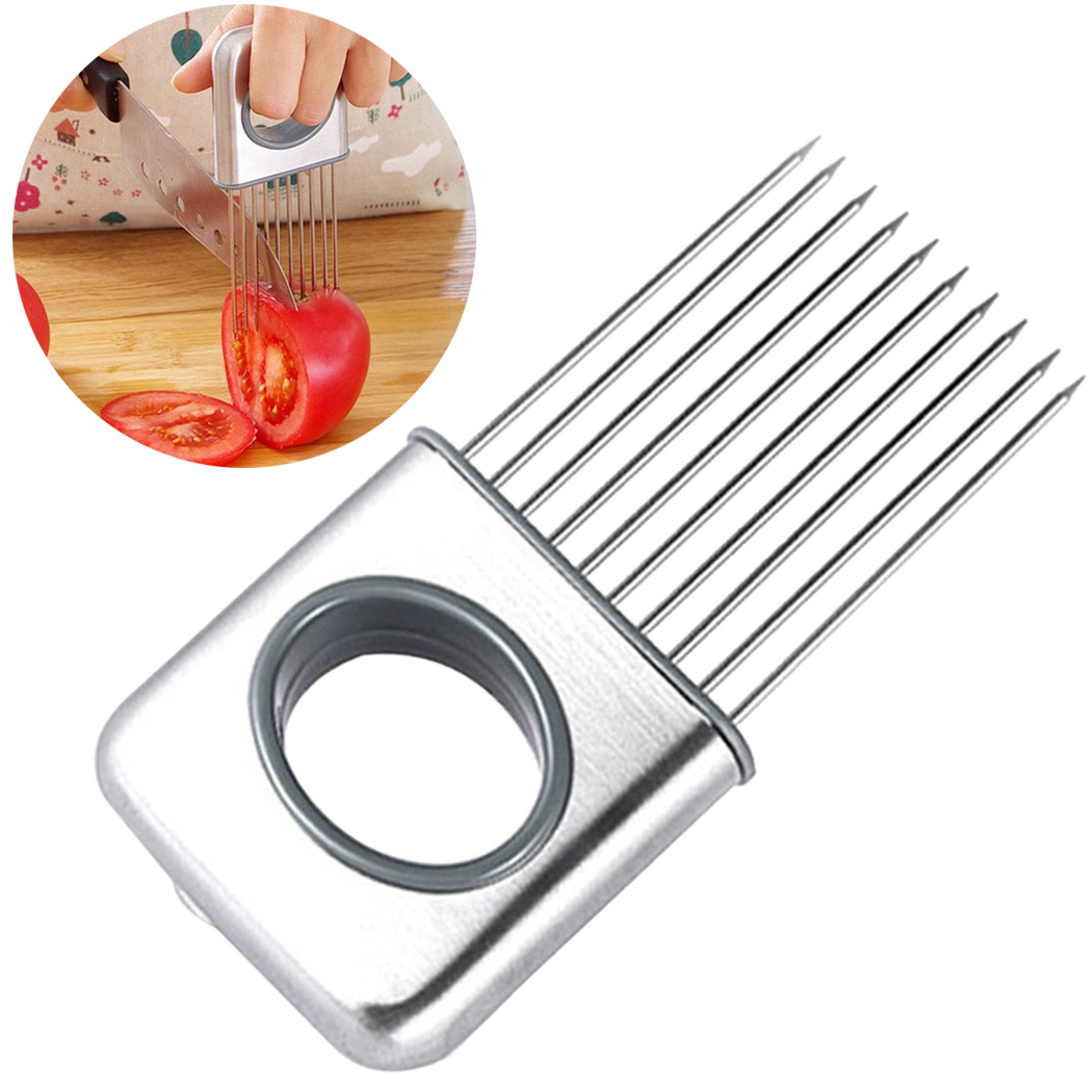 Outgeek Onion Holder Multipurpose Stainless Steel Onion Slicer Vegetable Potato Cutter Protective Holder Kitchen Gadget for Home