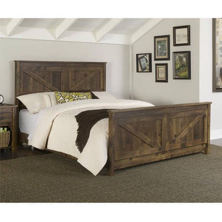 Better homes and gardens falls creek queen bed weathered for Farmhouse style bed