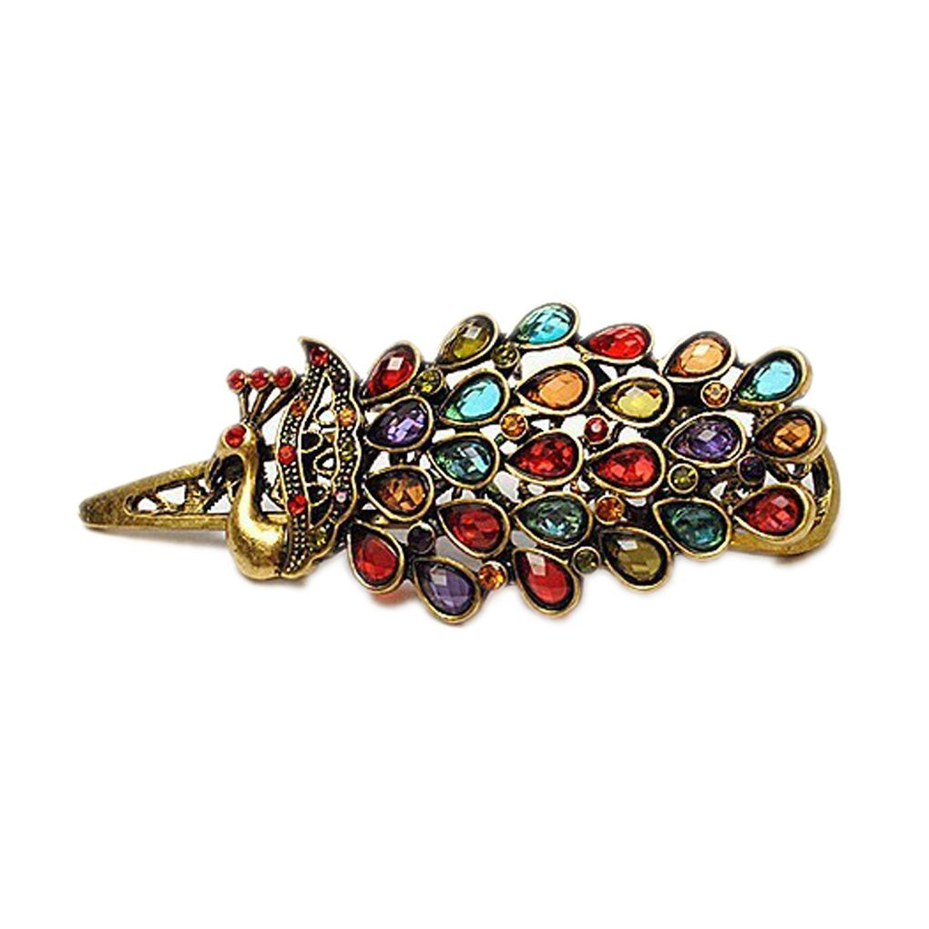 Women Vintage Crystal Peacock Hair Barrette Clip Hairpin
