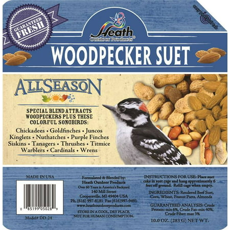 Heath Outdoor Products Wild Bird Suet Cake Woodpecker Peanut and Almond Suet 12 Pack