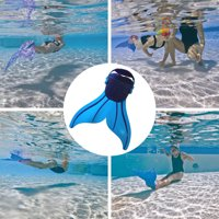 CoastaCloud Kids Youths Flippers Adjustable Mermaid Tail Mono Swimming Fin Flippers Diving Monofin,Comfortable Swim Toy Pool Footwear for Children