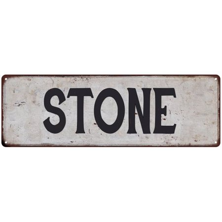 STONE Vintage Look Personalized Rustic Chic Metal Sign 6x18 206180036189 Vintage Look Side Stone