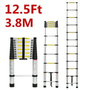 Kadell 16.5Ft/12.5Ft/10.5ft Aluminum Telescoping Ladder, Non-Slip Multi-Purpose Extension Ladder with Foot pad Lightweight Retractable Step Loft Ladder, 330lbs Capacity Heavy Duty