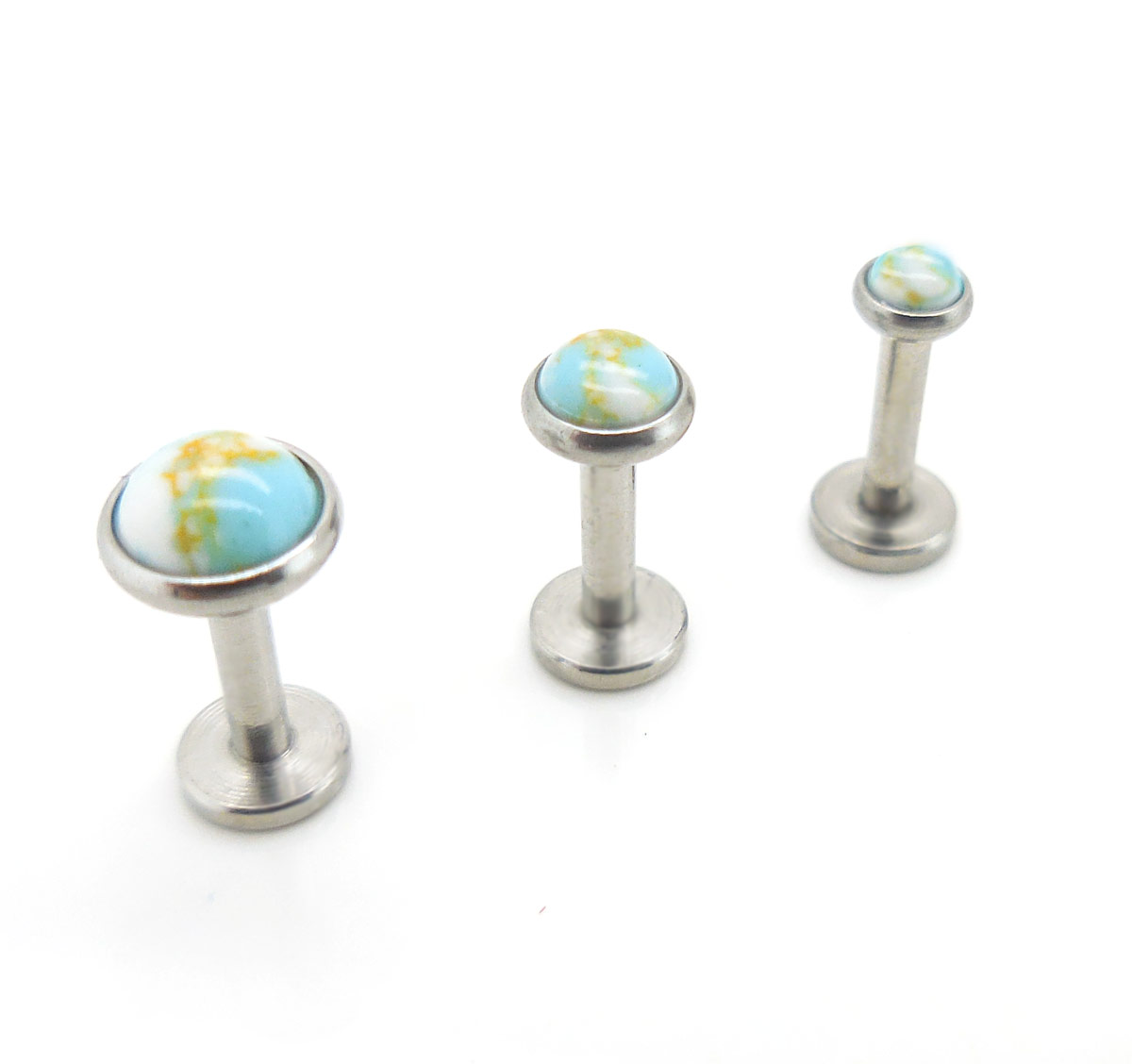 16G 6mm 2,3,4,5mm Turquoise Triple Forward Helix Cartilage Stud Earring Labret
