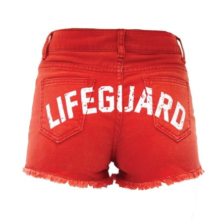 LIFEGUARD Women's Vintage Washed Look Red Denim High Waisted Shorts (S (4/6)) (Lifeguard Shorts Women)