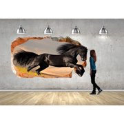 Startonight 3D Mural Wall Art Photo Decor Black Horse Amazing Dual View Surprise Wall Mural Wallpaper for Bedroom Animals Wall Art Gift Large 47.24 '' By 86.61 ''