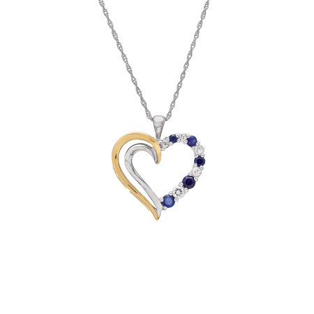 Duet Created Blue Sapphire with White Topaz Sterling Silver and 10K Yellow Gold Open Heart Pendant, 18