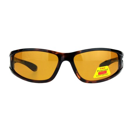 5a58aec7eb4 SA106 - TAC Polarized Night Driving Lens Warp Around Light Weight Sunglasses  Tortoise - Walmart.com