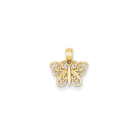 14k Yellow Gold Polished Filigree Butterfly Charm - .5 Grams
