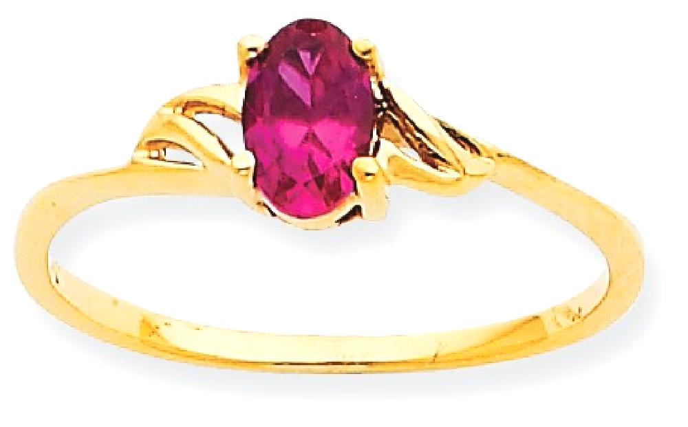 IceCarats 10k Yellow Gold Red Ruby Birthstone Band Ring Size 7.00 Stone July Oval Style Fine Jewelry Gift Valentine Day... by IceCarats