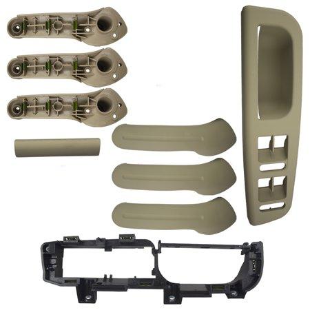 Beige 4 Piece Kit of 3 Inside Door Grab Handles w/ Master Window Switch Bezel Plate & Trim Set Replacement for VW Golf Jetta