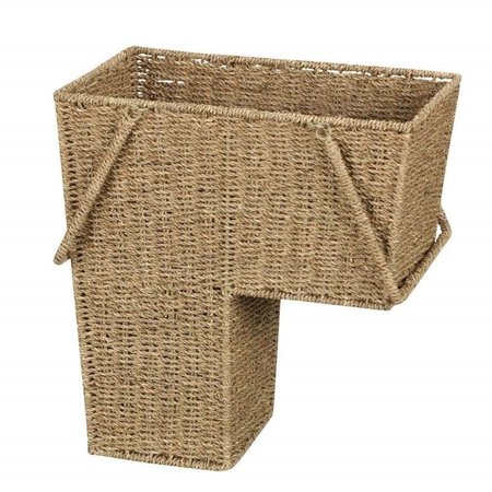 "GHP 16""x10""x16"" Seagrass Woven Wicker Open Top Stair Basket Bin with Two Handles"