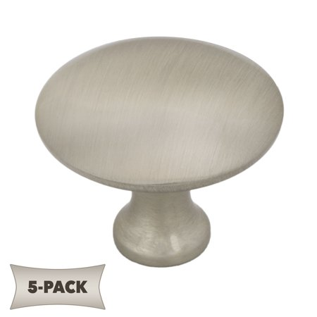 5-Pack Slim Profile Kitchen Cabinet Hardware Mushroom Knob 1 -1/4 Inch, Satin Nickel Modern and affordable high quality hardwareGoes great with stainless steel appliances in the kitchen and nickel fixtures in the bathroom1.17  D X 0.96  T 1.2 oz 1  mounting screw includedLifetime Warranty