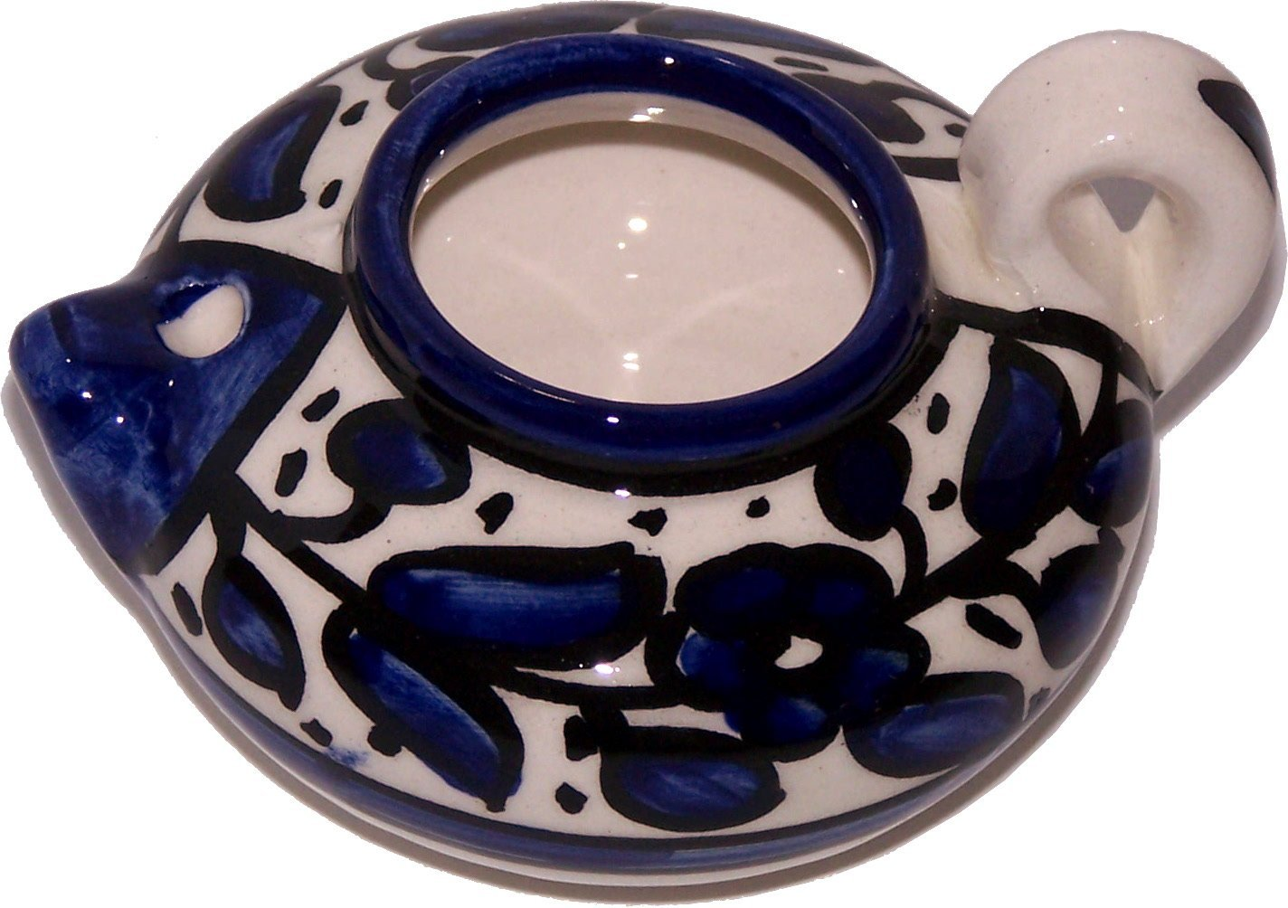 - Asfour with wicks for burning Ceramic painted by hand Oil Lamp 4 Inches