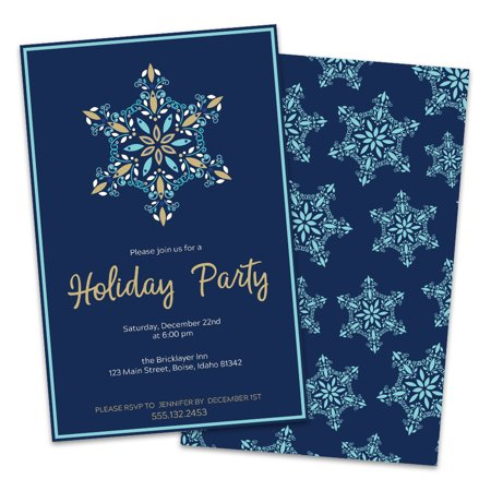 Personalized Blue Snowflake Holiday Party Invitations - Personalized Party Invitations