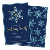 Personalized Blue Snowflake Holiday Party Invitations