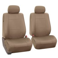 FH Group Tan Faux Leather Airbag Compatible Car Seat Covers, 2 pieces