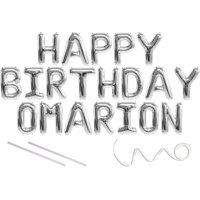 Omarion, Happy Birthday Mylar Balloon Banner - Silver - 16 inch Letters. Includes 2 Straws for Inflating, String for Hanging. Air Fill Only- Does Not Float w/Helium. Great Birthday Decoration