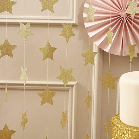 4M Sewn Five-Pointed Star Paper String Pull Flower Flag Hanging Ornaments Christmas New Year Birthday Party Decoration - image 6 de 8