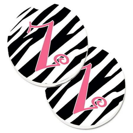 Monogram Initial Z Zebra Stripe & Pink Set of 2 Cup Holder Car Coaster