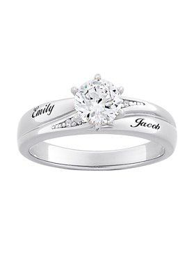 Product Image Personalized Sterling Silver Brilliant CZ & Diamond Accent Engagement Ring