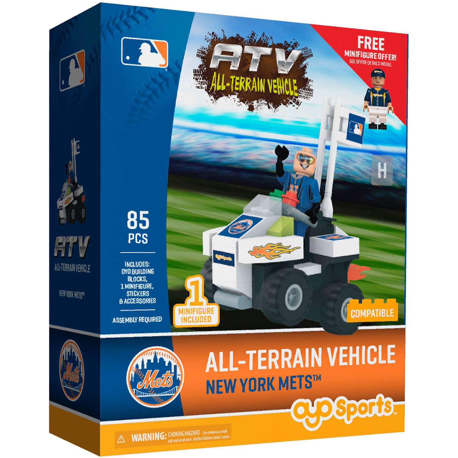 OYO Sports MLB All-Terrain Vehicle with Super Fan Building Set, New York Mets