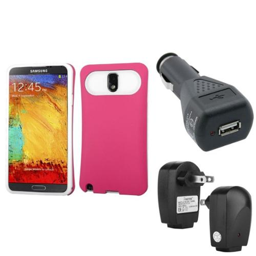 Insten Pink Wallet Back Case+Car+Home Charger Adapter For Samsung Galaxy Note 3 N9000