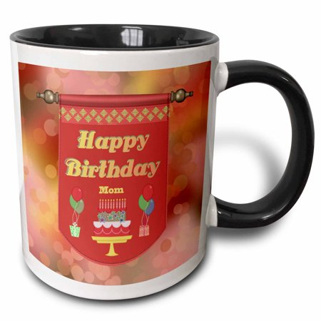 3dRose Happy Birthday Mom Banner, Cake with Gifts and Balloons, Two Tone Black Mug, 11oz
