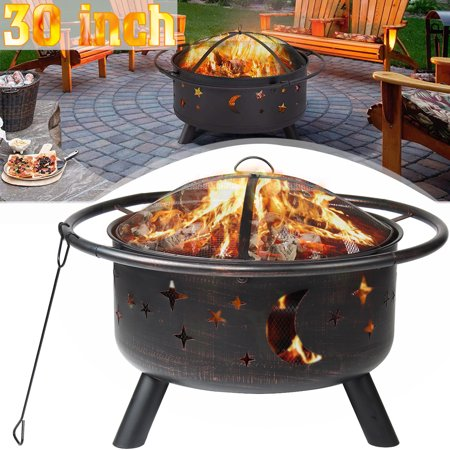 """LXingStore 30"""" Outdoor Fire Pit, Vintage Metal Firepit Bonfire Wood Burning Heater Stove with Spark Screen and Poker,Stars Moons Design for Patio Garden RUSTIC DECORATION"""