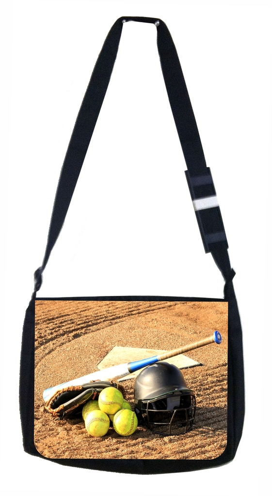 Softball Gear Black Laptop Shoulder Messenger Bag