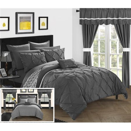 Chic Home CS0586-US Pinch Pleated Design Reversible Chevron Pattern Comforter Set with Sheets, Window Treatments & Decorative Pillows - Grey - Queen - 20 Piece ()