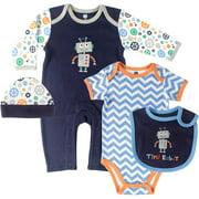 Newborn Baby Boys Robot Layette Set 4Pc