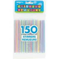 Assorted Striped Plastic Coffee Stirrers, 150ct