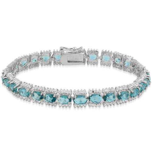 Dolce Giavonna Sterling Silver 15ct TGW London Blue Topaz and Diamond Accent Bracelet with Red Bow G by Overstock