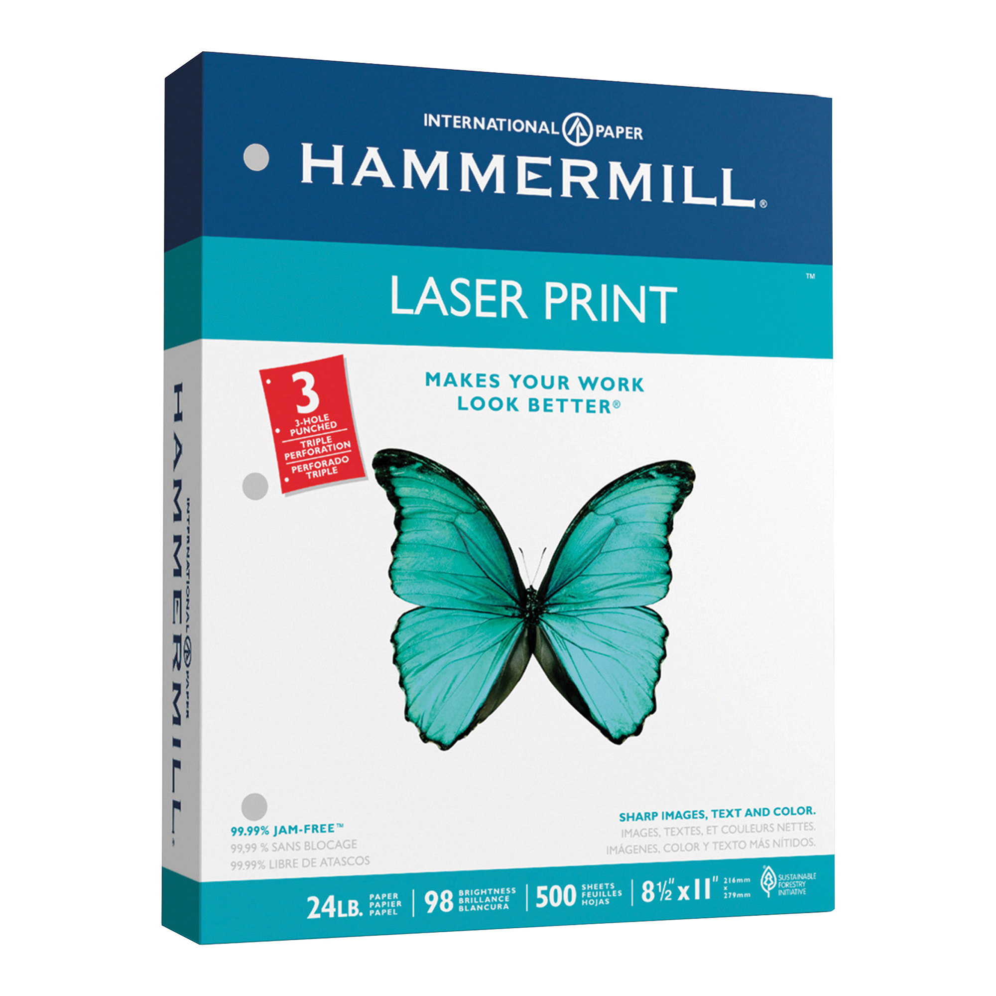 Hammermill Laser Paper, 8.5 x 11 In, 24lb, 3 Hole Punched, 500 sheets (107681)