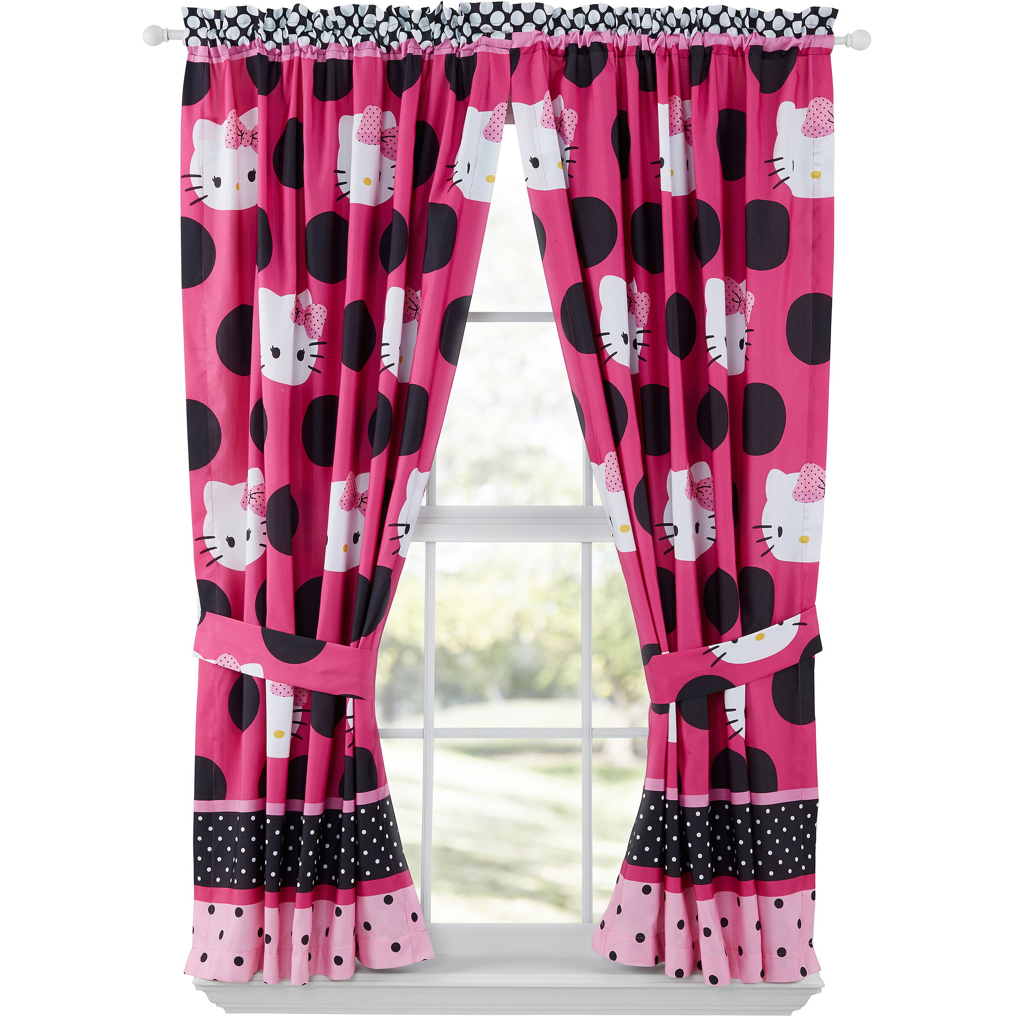 Hello Kitty Dotted in Pink Girls Bedroom Curtain Panels  Set of 2    Walmart com. Hello Kitty Dotted in Pink Girls Bedroom Curtain Panels  Set of 2