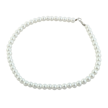 Lobster Hook Faux Pearl Princess Necklace White for Women - Faux Pearl Drop Necklace