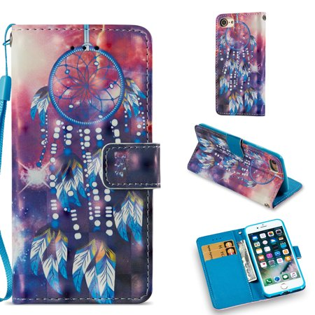 iPhone 8 Case/ iPhone 7 Case, Allytech Smart Pattern Design Wallet Cover with Card Holder Cash Slots Kickstand PU Leather Folio Flip Shockproof Case Cover for iPhone 8/ iPhone 7, Dream Catcher (cute dream catcher iphone 5)