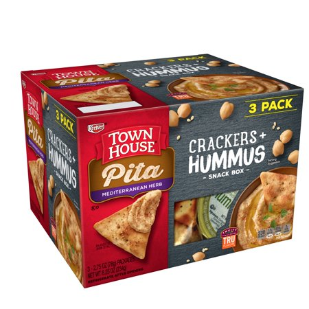 Keebler Town House Pita Mediterranean Herb Crackers + Hummus Snack Box, 2.75 Oz., 3 Count - Healthy Snacks For Halloween
