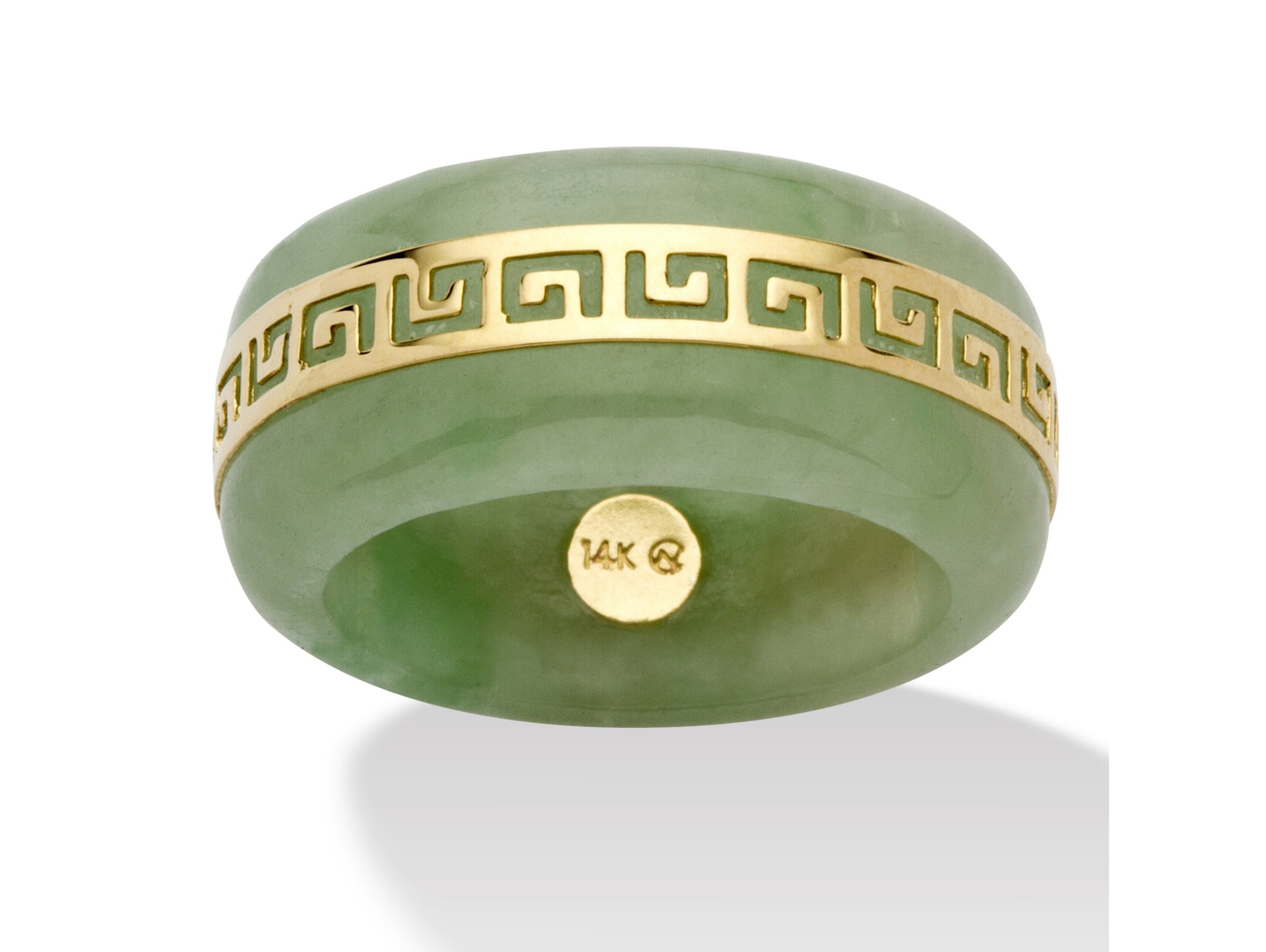 "Genuine Green Jade 14k Yellow Gold ""Greek Key"" Ring by PalmBeach Jewelry"