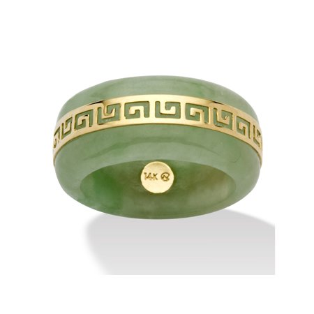 Green Marcasite Ring (Genuine Green Jade 14k Yellow Gold