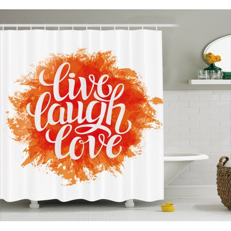 Live Laugh Love Shower Curtain Hand Drawn Style Cheerful Brushstroke Background Motivation Phrase Print