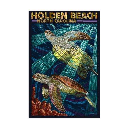 Holden Beach, North Carolina - Sea Turtle Paper Mosaic Print Wall Art By Lantern Press - Mosaic Turtle