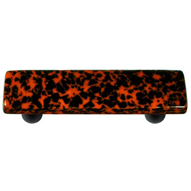 Hot Knobs HK8058-PB Granite Black & Orange Rectangle Glass Cabinet Pull - Black Post